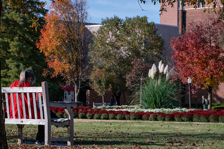 Student sitting on bench at OU